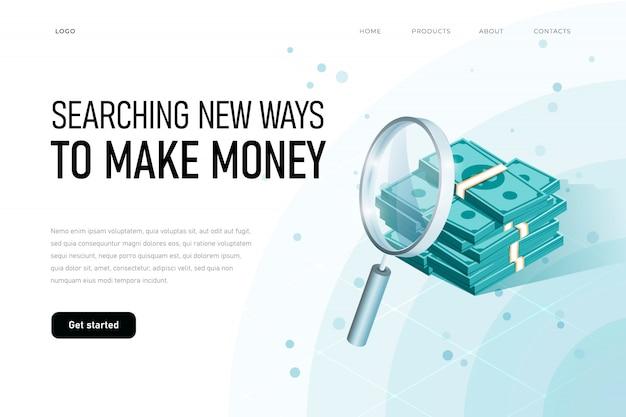 Exageración del concepto de ilustración de ganancias. buscando dinero, riqueza, finanzas, idea, buscando nuevos wats para ganar dinero, ilustración