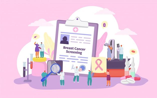 Examen de detección de cáncer de mama, paciente de dibujos animados y personajes pequeños del médico con cinta, concepto de medicina de salud de la mujer