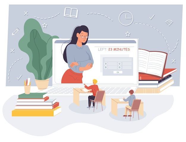 Examen a distancia para niños en línea en clase virtual.