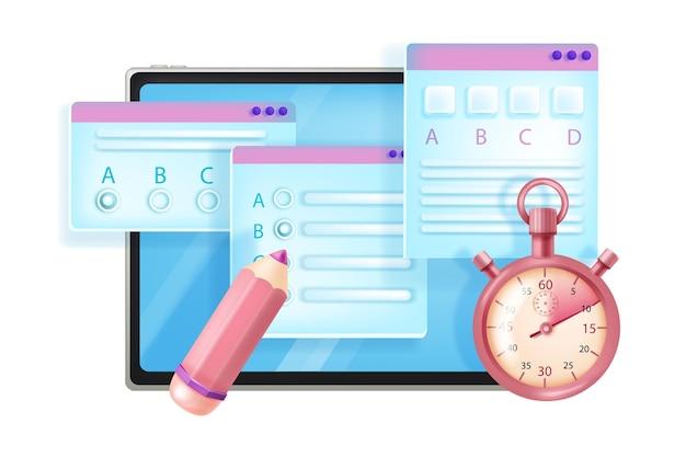 Examen de internet en línea, ilustración de encuesta de educación web, pantalla de tableta, lápiz, cronómetro aislado en blanco.