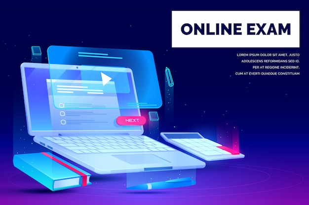 Examen en línea, banner de página de destino de educación distante