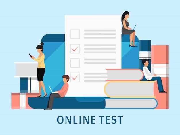 Examen en línea concepto de personas. pequeños estudiantes llenan en línea ilustración de formulario de examen. lista de verificación, documento en papel, lista de tareas con casillas de verificación o examen de educación