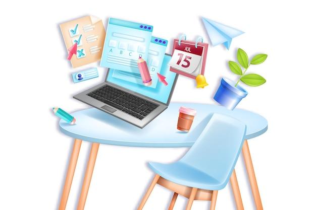 Examen en línea, escuela de educación, prueba de casa remota de la universidad, silla, mesa, pantalla de computadora portátil, calendario.