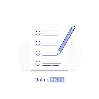 Examen en línea, lista de verificación con lápiz, examen, elección de respuestas, formulario de cuestionario, educación.