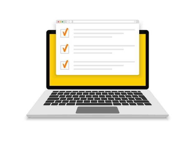 Examen en línea, lista de verificación y pruebas en línea en la pantalla del portátil. formulario de encuestas en línea en la pantalla de la computadora. diseño plano. ilustración.