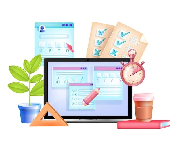 Examen en línea, prueba de internet, educación digital, ilustración 3d de e-learning, pantalla de computadora portátil, cronómetro.