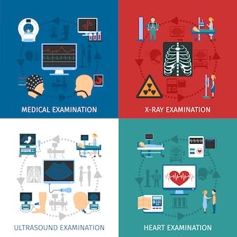 Examen médico 4 iconos planos cuadrados