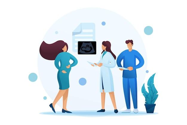 Examen de mujeres embarazadas, estudio de resultados de ultrasonido, consulta médica.