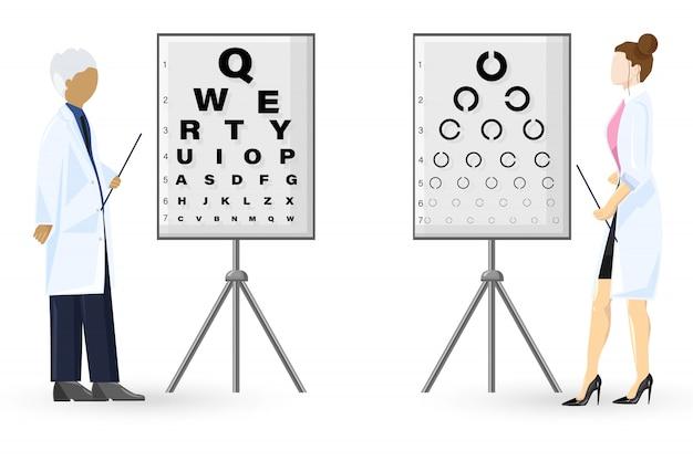 Examen de oftalmología estilo plano. concepto de salud de los médicos. ilustración de la plantilla