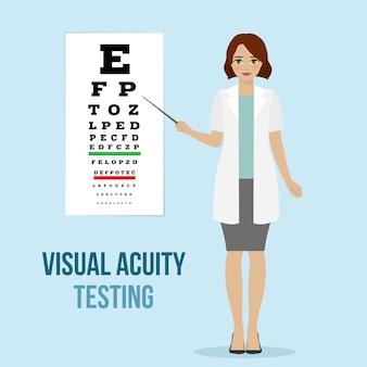 Examen de visión ocular en un oftalmólogo, diagnóstico de agudeza visual para el consejo médico