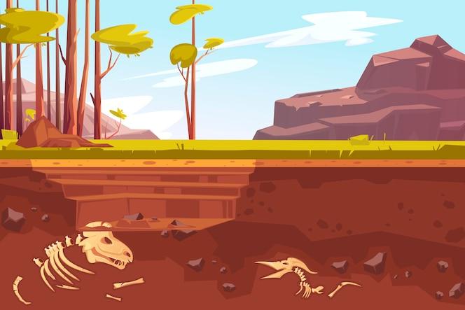 Excavaciones arqueológicas en paisajes naturales.