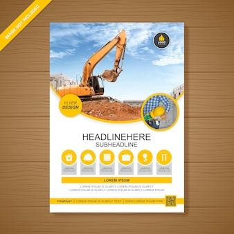 Excavadora construcción a4 flyer plantilla de diseño para la impresión