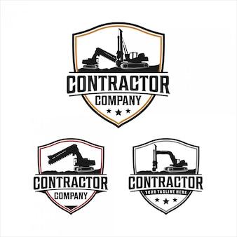 Excavadora de zanjas y diseño de logotipo de equipo de perforación.