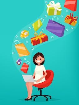 A excepción de las compras en línea. la mujer compra regalos sobre la ilustración de internet