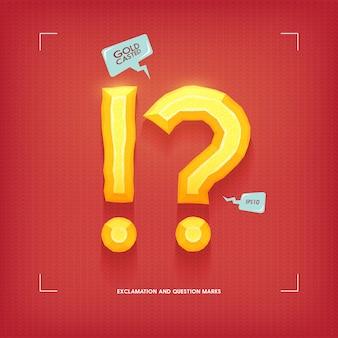 Exclamación y signos de interrogación. elemento de tipografía joya dorada. oro fundido. ilustración.