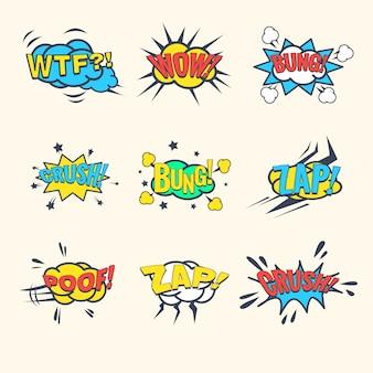Exclamaciones de cómics comunes, conjunto de burbujas de discurso