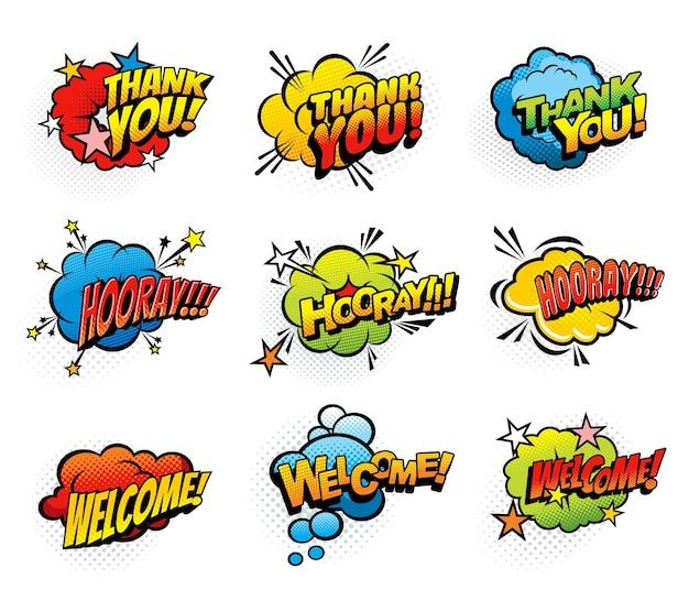 Exclamaciones retro cómicas y burbujas cómicas de discurso de saludo