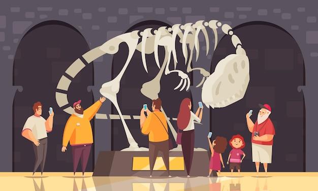 Excursión de guía composición de esqueleto de dinosaurio con sala de exposición de panóptico, paisaje interior y personajes humanos de la ilustración de los visitantes