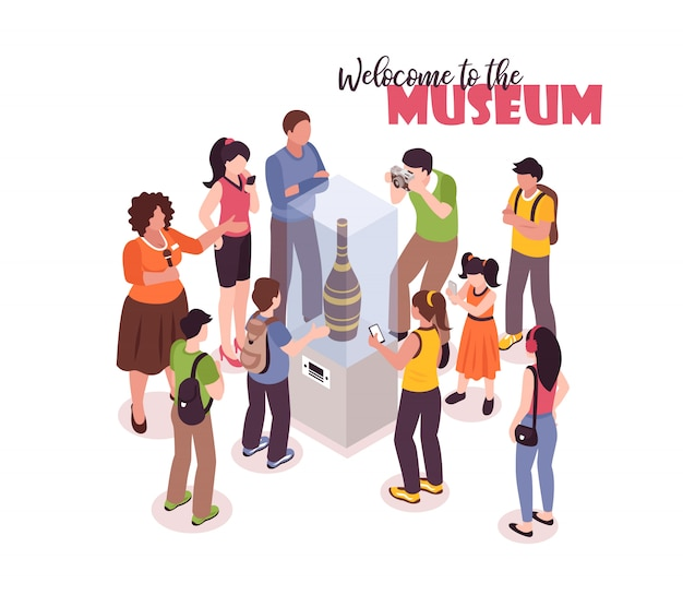 Excursión de guía isométrica con texto adornado y un grupo de turistas tomando fotos de una exhibición antigua