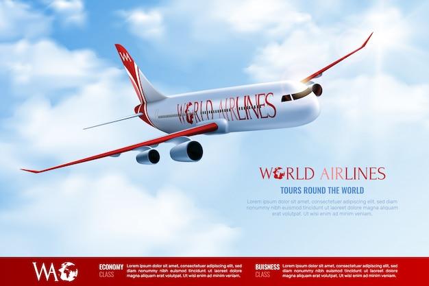 Excursiones alrededor del cartel publicitario mundial con avión de pasajeros que viaja en cielo azul nublado realista