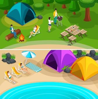 Excursiones de viaje de expedición isométrica, 2 pancartas de página web horizontales con amigos de fin de semana, picnic, camping, vacaciones, ilustración