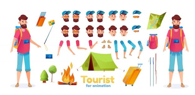 Excursionista de dibujos animados camping conjunto de animación turística. joven con mochila palos de senderismo kit de creación de mapa de carpa con emociones faciales, varias posiciones. trekking hombre constructor con hoguera, cámara