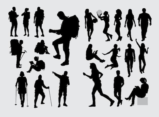 Excursionista, mochilero, y, gente, deporte, silueta