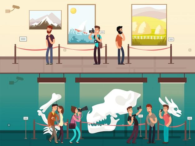 Exhibición de la galería del museo de dibujos animados con pintura, exhibiciones de ciencia y visitantes.