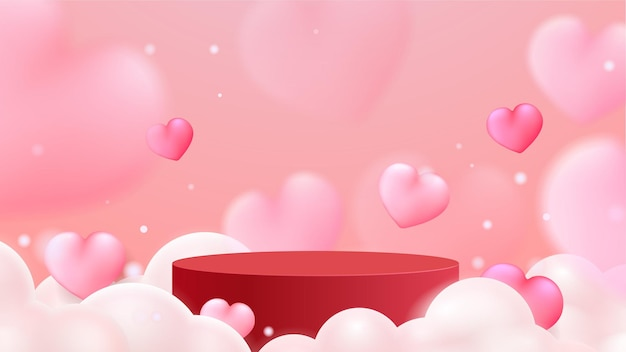 Exhibición del podio del día de san valentín. stand de presentación de productos. estilo realista en 3d.
