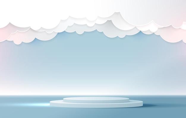 Exhibición del podio para la presentación de la marca del producto y el escenario del estudio con hermosas nubes azules esponjosas