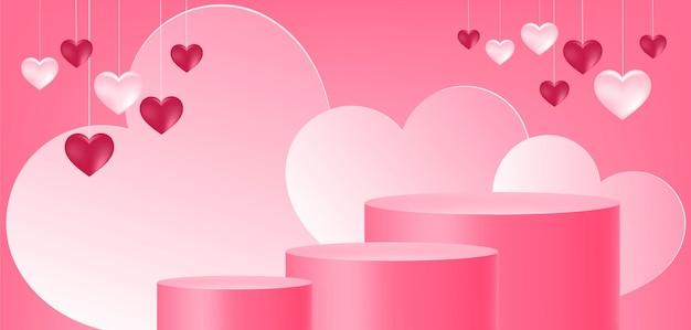 Exhibición del producto, podio, forma de corazón, amor, fondo abstracto,