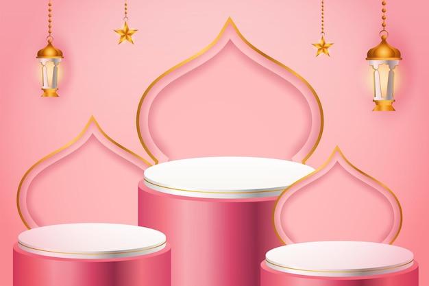 Exhibición de productos 3d, podio rosa y blanco con temática islámica con linterna dorada y estrella para ramadán
