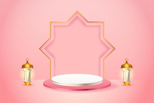 Exhibición de productos 3d, podio rosa y blanco con temática islámica con linterna dorada para ramadán