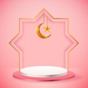 Exhibición de productos 3d, podio rosa y blanco con temática islámica con luna creciente y estrella para ramadán