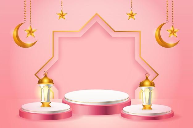 Exhibición de productos 3d, podio rosa y blanco con temática islámica con luna creciente, linterna y estrella para el ramadán