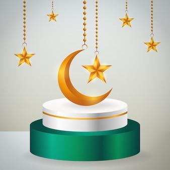 Exhibición de productos 3d, podio verde y blanco con temática islámica con luna creciente dorada y estrella para ramadán