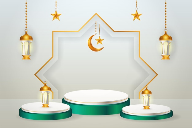 Exhibición de productos 3d, podio verde y blanco con temática islámica con luna creciente, linterna y estrella para el ramadán