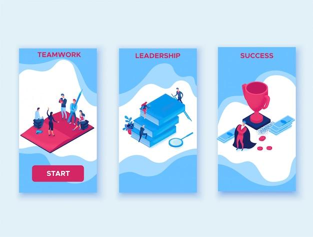 Éxito carrera isométrica infografía concepto 3d