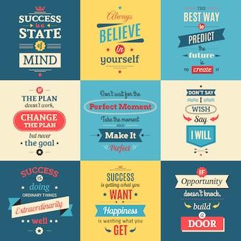 El éxito cita los carteles aislados coloreados en estilo retro con el ejemplo plano del vector de las palabras y de las enseñanzas de despedida