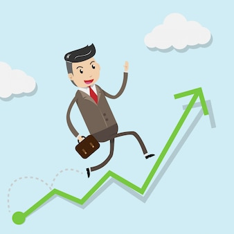 Éxito de crecimiento financiero con empresario feliz