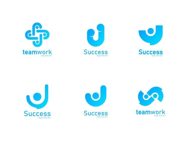 Éxito diseño logo personas alcanzan sueño propósito objetivo avance progreso empresarial