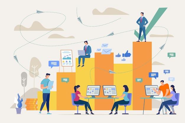 Éxito de la empresa con un buen concepto de trabajo en equipo
