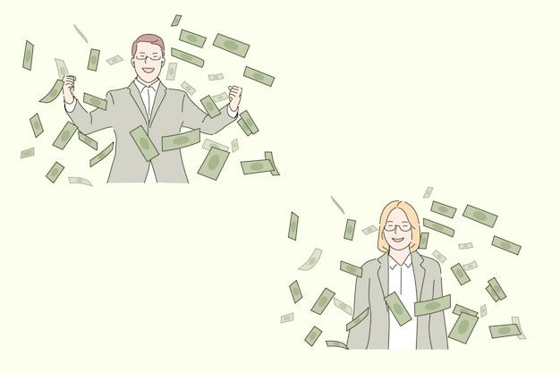 Éxito empresarial, concepto de negocio rentable