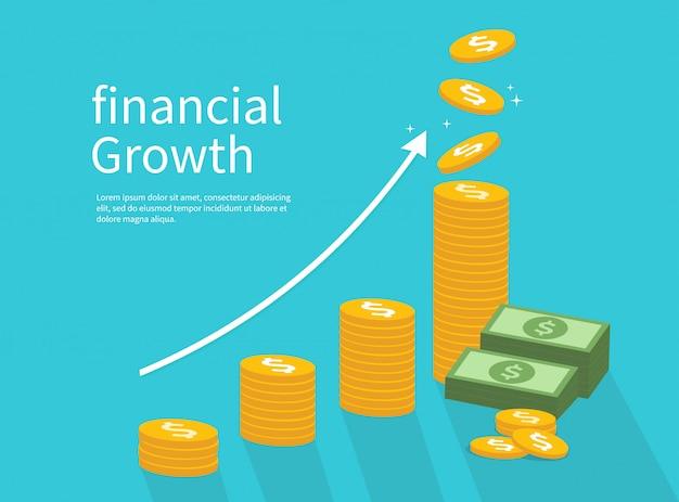 Éxito empresarial y crecimiento financiero. ilustración.