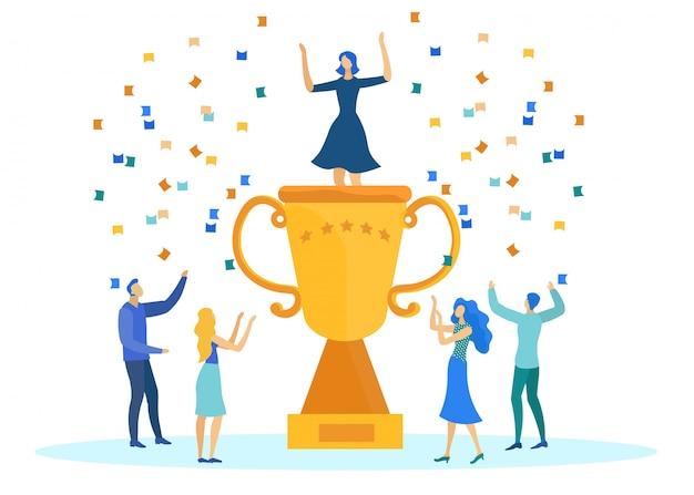 Éxito empresarial, personas con trofeo y confeti.