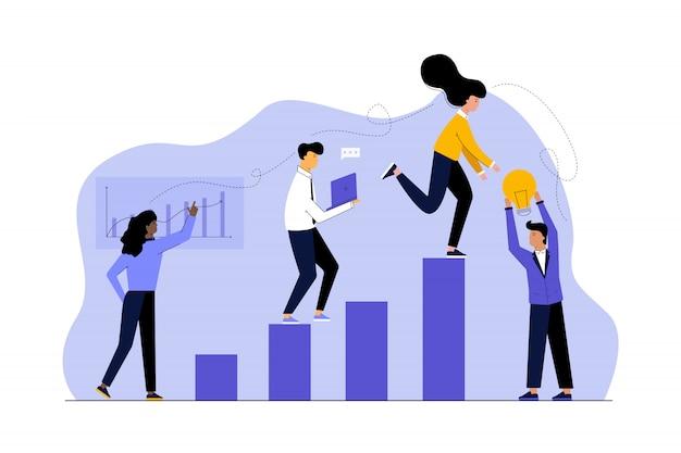 Éxito empresarial, trabajo en equipo de coworking multiétnico, concepto de análisis.