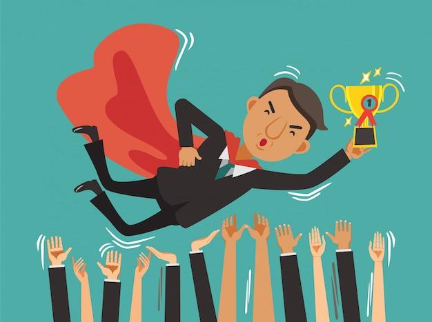 El éxito del empresario encima de triunfante