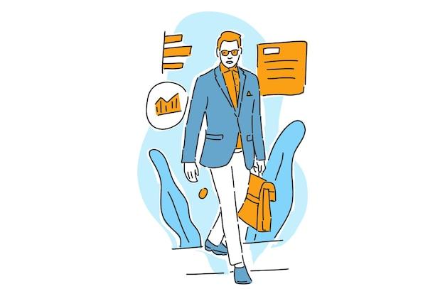 El éxito del empresario con la ilustración gráfica de información dibujar a mano