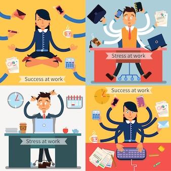 Éxito y estrés en el trabajo. hombre y mujer en el trabajo multitarea