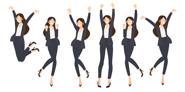 Éxito feliz mujer de negocios sobre fondo blanco aislado